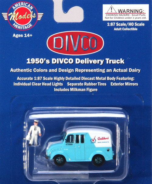 American Heritage Models HO 87-001 Divco Delivery Truck with Milkman and Carrier, Gallikers