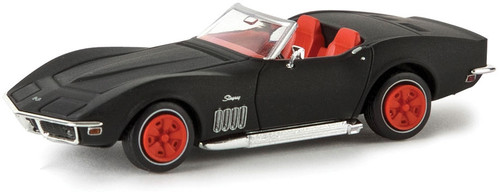 Brekina HO 19973 1967-1973 Chevrolet Corvette C3 Convertible with Top Down, Black/Red