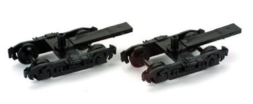 Athearn HO 90410 4-Wheel Passenger Truck, Black (2 pack)