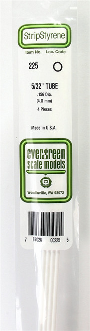 """Evergreen Scale Models 225 Round Tubing 5/32"""" (4)"""
