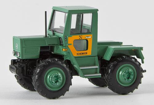 Brekina HO 13704 1975 Mercedes-Benz Trac 800 Farm Tractor, Starmada Schenker (Green/Yellow with German Lettering)