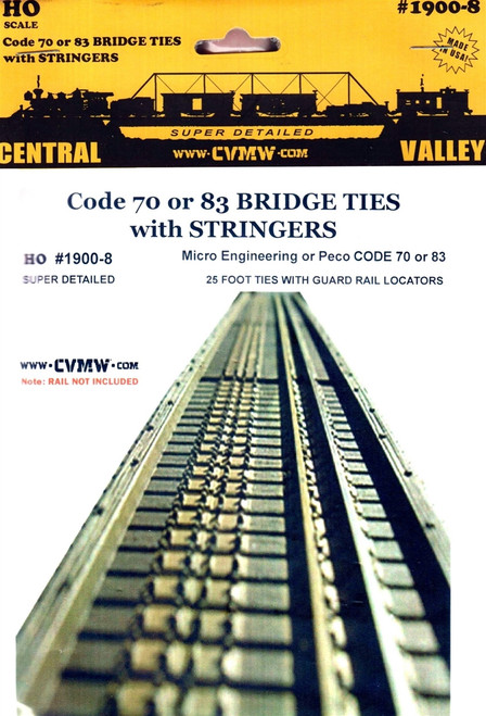 Central Valley Model Works HO 1900-8 Code 70/83 25' Bridge Ties with Stringers