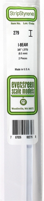 """Evergreen Scale Models 279 I-Beam .375"""" (2)"""