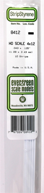 """Evergreen Scale Models HO 8412 Strip .043"""" x .135"""" (10)"""