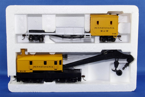 Bachmann Silver Series HO 16114 250-Ton Steam Crane Car with Boom Tender, Pennsylvania Railroad #3158