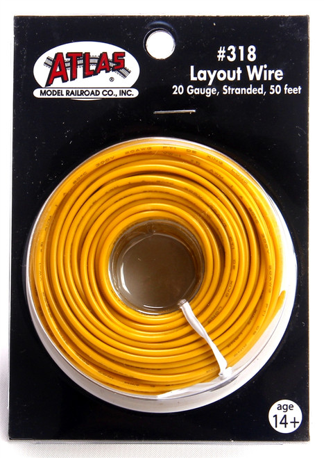 Atlas 318 50' Yellow 20 Gauge Stranded Layout Wire