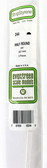 """Evergreen Scale Models 244 Half Round .125"""" (3) (d)"""