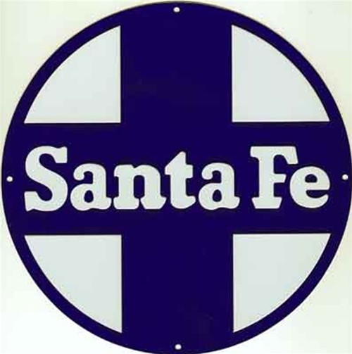 "Microscale 10038 Santa Fe 8"" Round Embossed Aluminum Sign (Shown with clear cover in place)"