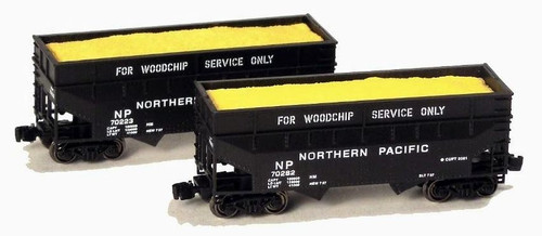 Full Throttle Z FT3403 Offset 2-Bay Woodchip Hopper Set #1, Northern Pacific (2-Pack)
