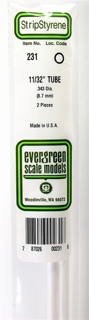 """Evergreen Scale Models 231 Round Tubing 11/32"""" (2)"""