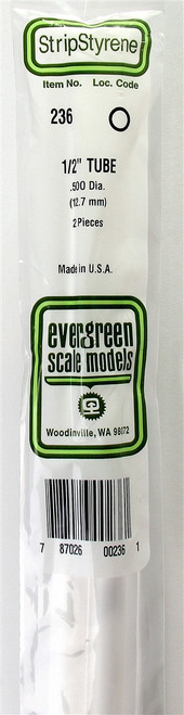 """Evergreen Scale Models 236 Round Tubing 1/2"""" (2)"""