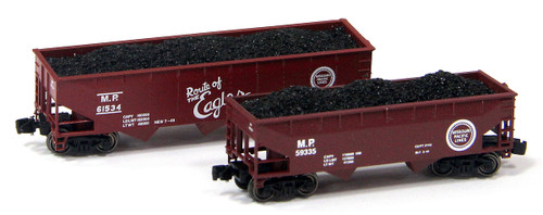 Full Throttle Z FTCOL41-1 Open 33' and 40' Offset 3-Bay Hopper Set #1, Missouri Pacific (2-Pack)