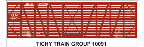 Tichy Train Group HO 10091 Great Northern Decal Set for 40' Stock Car (d)
