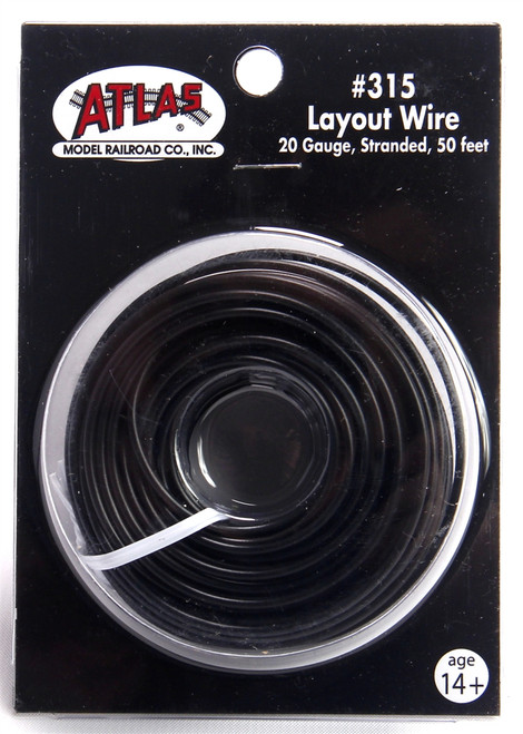 Atlas 315 50' Black 20 Gauge Stranded Layout Wire