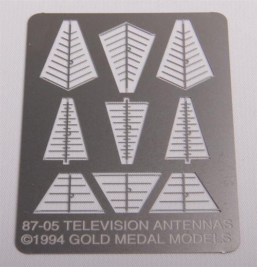 Gold Medal Models HO 87-05 Rooftop TV Antennas (9 Antennas in 3 Different Styles)