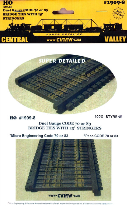 Central Valley Model Works HO 1909-8 Code 70/83 Bridge Ties with 25' Stringers