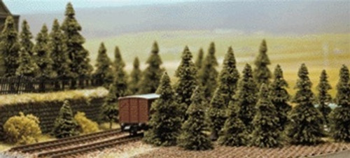 """Busch N 6572 Conifer Pine Trees 1-3/16"""" to 2-3/16"""" Tall (60)"""