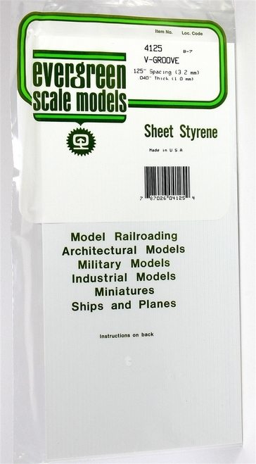 """Evergreen Scale Models 4125 6"""" x 12"""" V-Groove Sheet .040"""" x .125"""""""