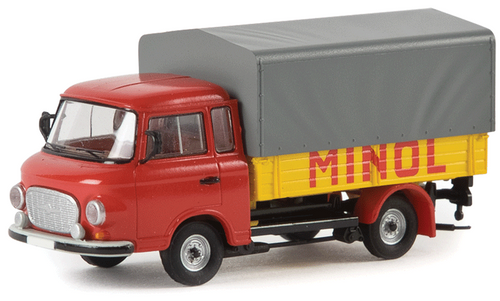 Brekina HO 30307 1961-1991 Barkas B 1000 Low-Sided Delivery Truck with Tarp Cover, Minol (d)