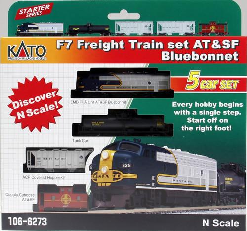 Kato N 1066273 F-7 Freight Train Set, Santa Fe Bluebonnet (F-7 A Unit, Tank Car, Two Hoppers and Caboose)