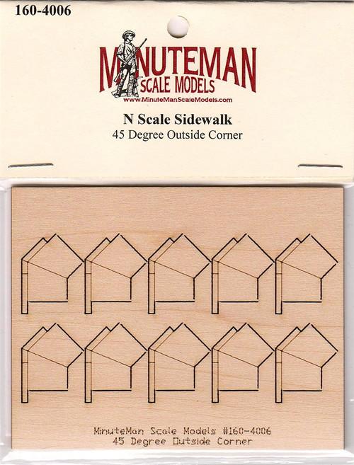 Minuteman Scale Models N 160-4006 Sidewalk, 45 Degree Outside Corner