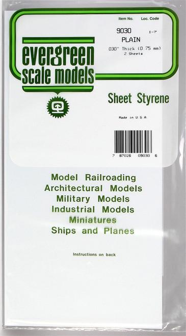 "Evergreen Scale Models 9030 6"" x 12"" Plain White Sheet .030"" (2)"