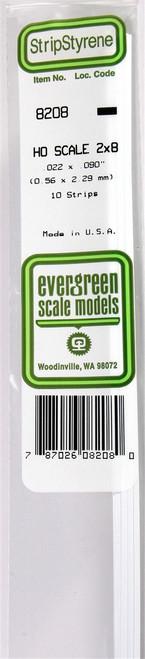"""Evergreen Scale Models HO 8212 Strip .022"""" x .135"""" (10)"""