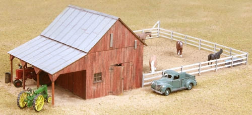American Model Builders HO 726 Implement Barn with Corral Kit