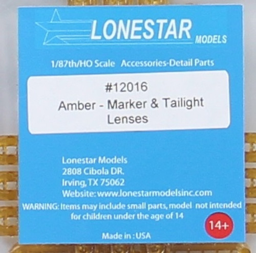 Lonestar Models HO 12016 Marker and Tail Light Lenses, Amber (12 Tail Lights, 48 Marker Lights)