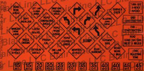 Blair Line N 004 Traffic Signs (Black Text on Safety Orange)