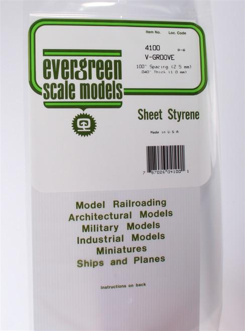 """Evergreen Scale Models 4100 6"""" x 12"""" V-Groove Sheet .040"""" x .100"""""""