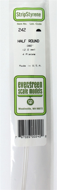"""Evergreen Scale Models 243 Half Round .100"""" (3) (d)"""