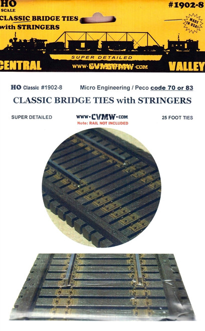 Central Valley Model Works HO 1902-8 Code 70/83 Classic 25' Bridge Ties with Stringers