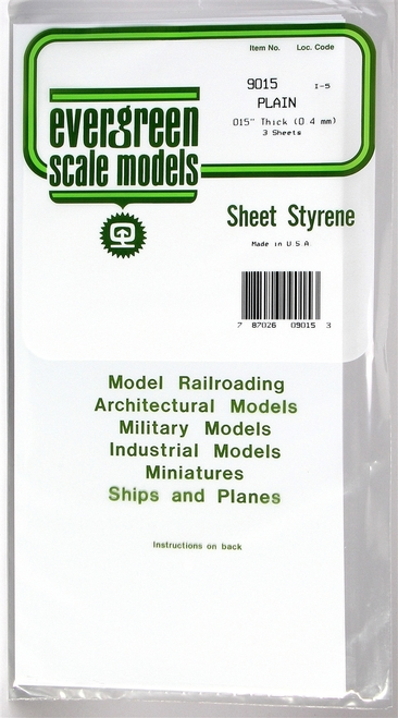 "Evergreen Scale Models 9015 6"" x 12"" Plain White Sheet .015"" (3)"