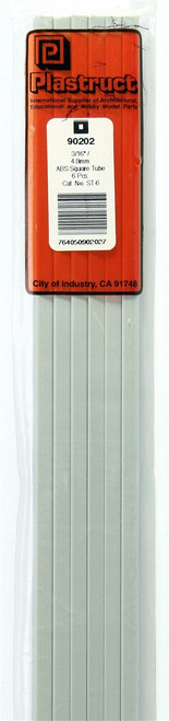 """Plastruct 90202 ST-6 ABS Square Tubing, 3/16"""" (6) (d)"""