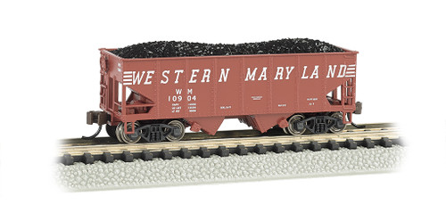 Bachmann N 19552 USRA 55-Ton Outside Braced 2-Bay Hopper with Load, Western Maryland #10904