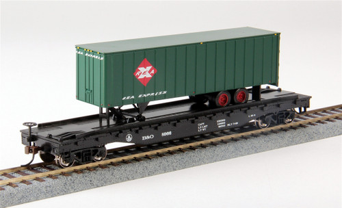Bachmann Silver Series HO 16702 52' Flat Car with REA Express Trailer, Baltimore and Ohio #8966