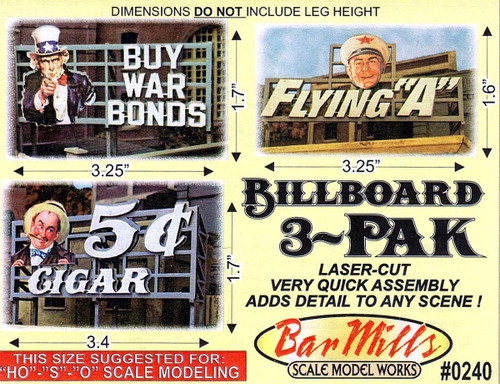 Bar Mills Scale Model Works HO 0240 Laser-Cut Billboards Pack 1 (3-Pack)