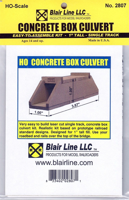 "Blair Line HO 2807 Concrete Box Culvert Kit, Single Track 1"" Tall"