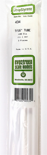 """Evergreen Scale Models 434 .438"""" Round Tubing (3)"""