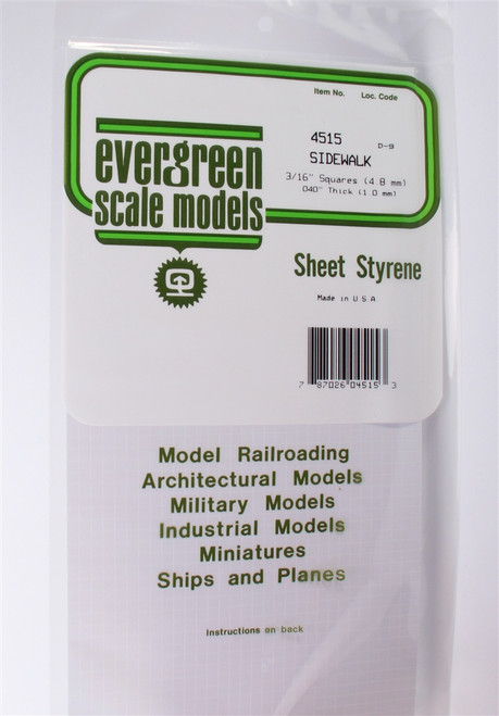 Evergreen Scale Models 4515 Sidewalk 3/16""