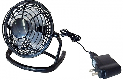 "A.E. Corporation CF-501 USB Powered Desk Fan with Power Supply (5"" Diameter Plastic) (Colors will Vary)"