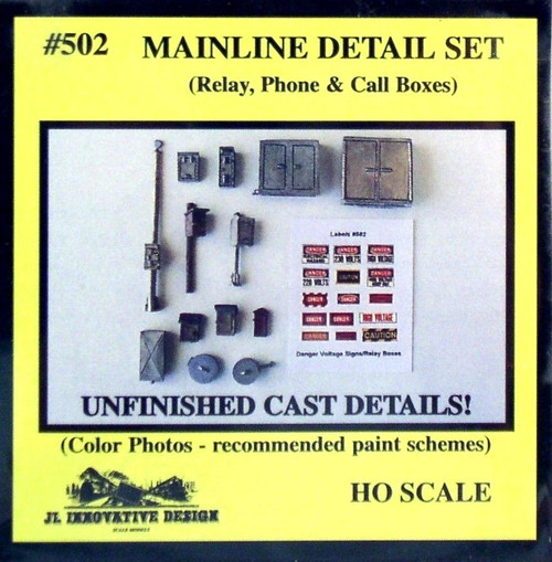 JL Innovative Design HO 502 Mainline Detail Set (Relay, Phone, and Call Boxes)