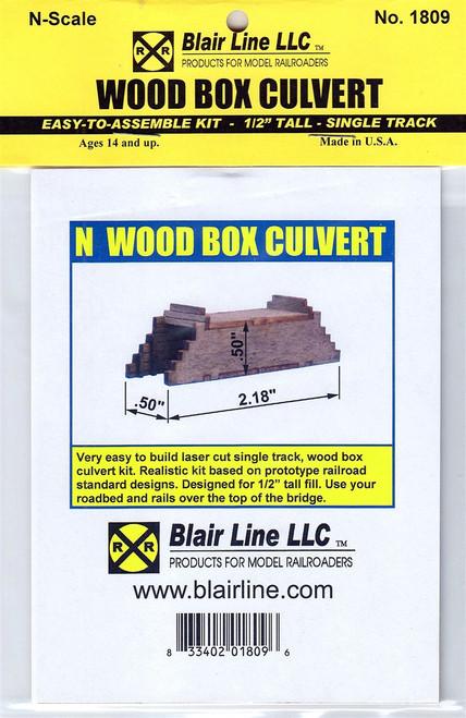 "Blair Line N 1809 Wood Box Culvert Kit, Single Track 1/2"" Tall"