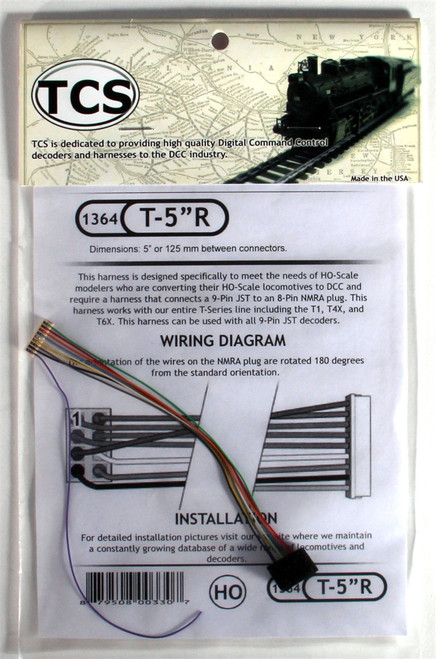 """Train Control Systems HO 1364 T-5""""R 5"""" 9-Pin JST to 8-Pin NMRA Harness"""