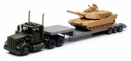 New Ray Toys O 15953 Kenworth W900 Lowboy with Tank Load