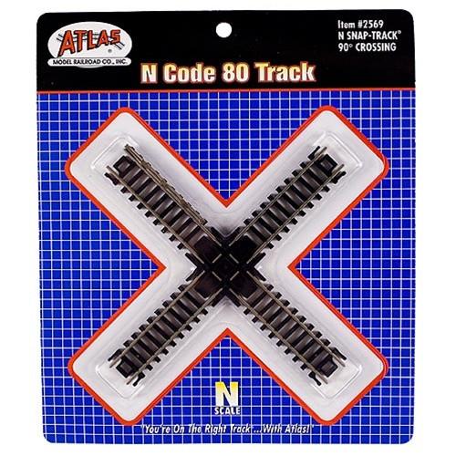 Atlas N 2569 Code 80 Track 90-Degree Crossing