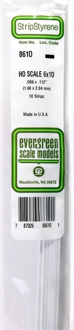 """Evergreen Scale Models HO 8610 Strip .066"""" x .112"""" (10)"""