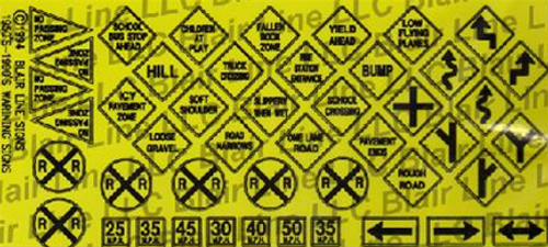 Blair Line N 006 Traffic Signs (Black Text on Safety Yellow)