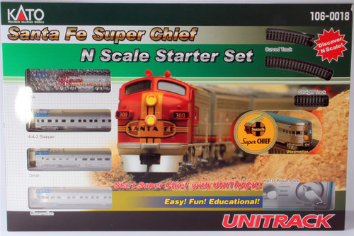 Kato N 1060018 Santa Fe Super Chief Starter Train Set with Track and Power Pack